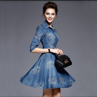 2016 Spring Newest Fashion Denim Dress Plus Size Clothing Long Sleeve Medium Long Slim High Waist