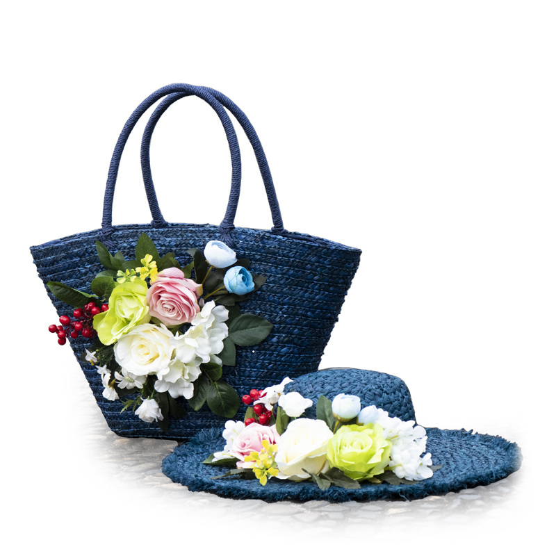 Straw Bags Flowers Beautiful Bags Women Handbag Travel Summer Holiday Wedding Vacation Honeymoon period Bride Totes