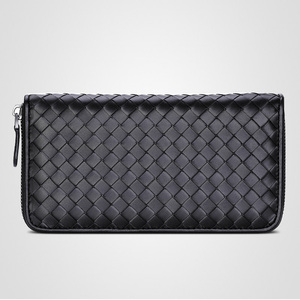Image 2 - 2020 New Leather Mens Wallet Long Woven Leather Bag Luxury Brand Clutch Simple Fashionable Lady Wallet Large Capacity Sheepskin
