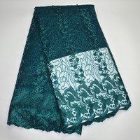 Free Shipping 5yards Pc Wholesales African French Net Lace Fabric Teal Green Tulle Lace With Beads
