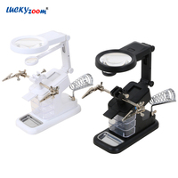 Luckyzoom Welding Desktop LED Magnifier Electric Iron Magnifying Glass With Alligator Clip 3X 4.5X 25X Third Hand For Soldering