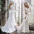 Vestido De noiva 2015 Wedding Dresses suave encaje De la boda vestidos sin espalda De encaje completa mangas largo Robe De Mariage