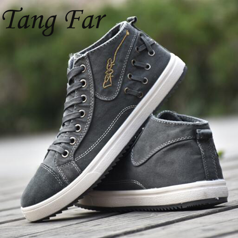 Men Shoes High Top Canvas Shoes New Comfortable Canvas Shoes Male Casual Lace Up Flats Shoes