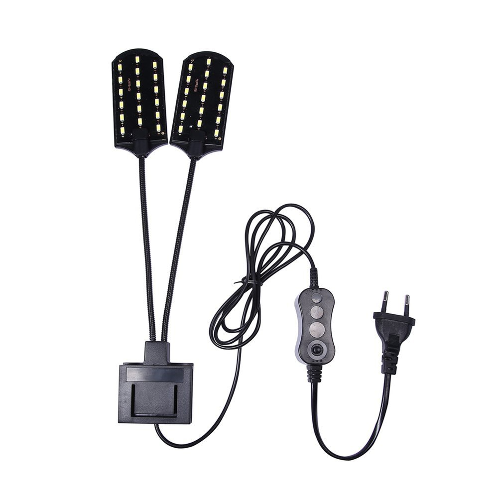 High-power Dual Head Water Grass Lighting 5730 Bean LED Clip On Clamp Lamp For Small Aquarium Fish Tank 15W 220V EU Plug