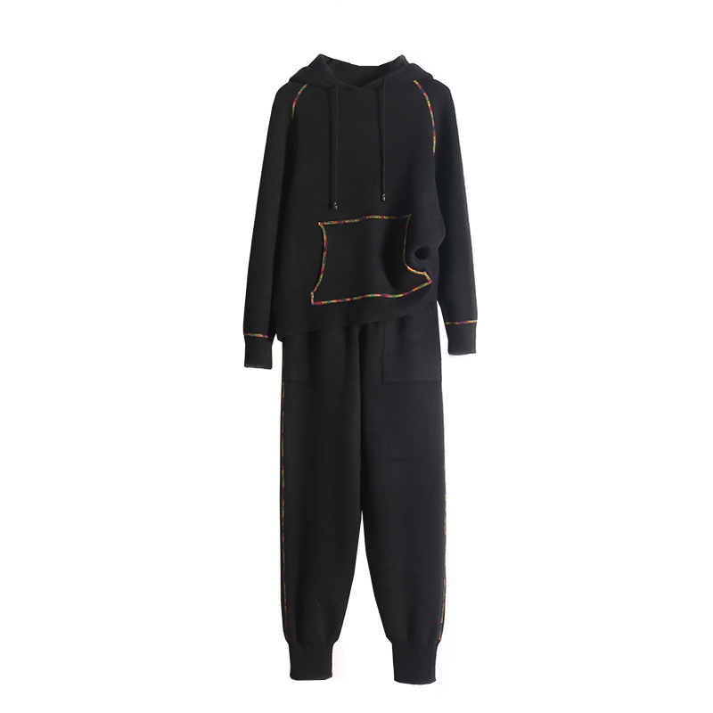Cachemire Deux Chaud Mode 2019 pièce Haut Noir Femme À Capuche Deux Femmes Vente La Sweat En Pantalon Et Tricoté gris Pièce 2 Ensemble Survêtement Directe TZ6q1AWZ