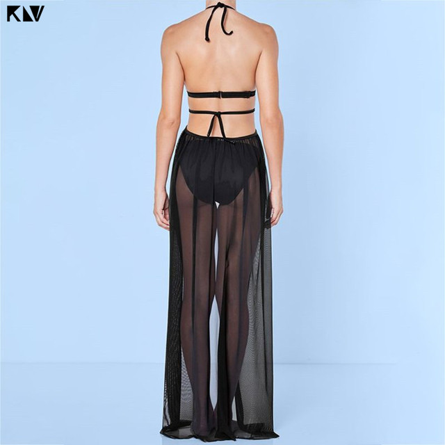 KLV Women Summer Bandage Mesh Sheer  Maxi Beach Skirt Solid Color Open Front Bikini Swimsuit Cover Up Split Wrapped Sarong 2