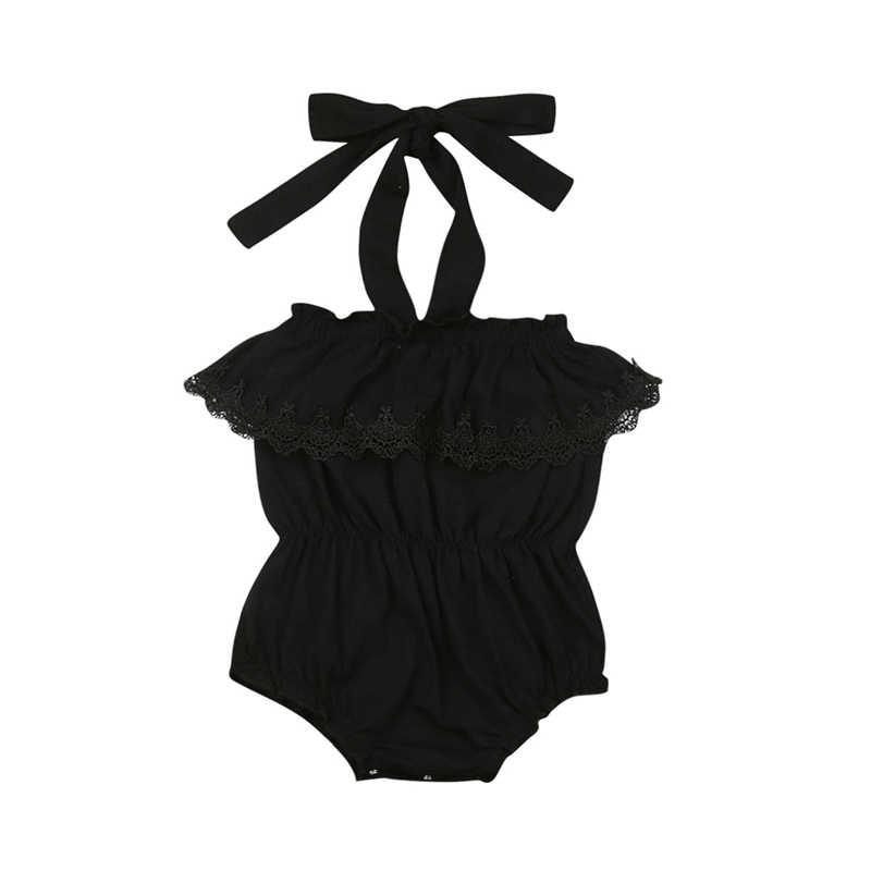Одежда для маленьких девочек Боди без бретелек с кружевными оборками боди, одежда черного цвета для маленьких девочек трико детская одежда для детей ясельного возраста костюм для подвижных игр