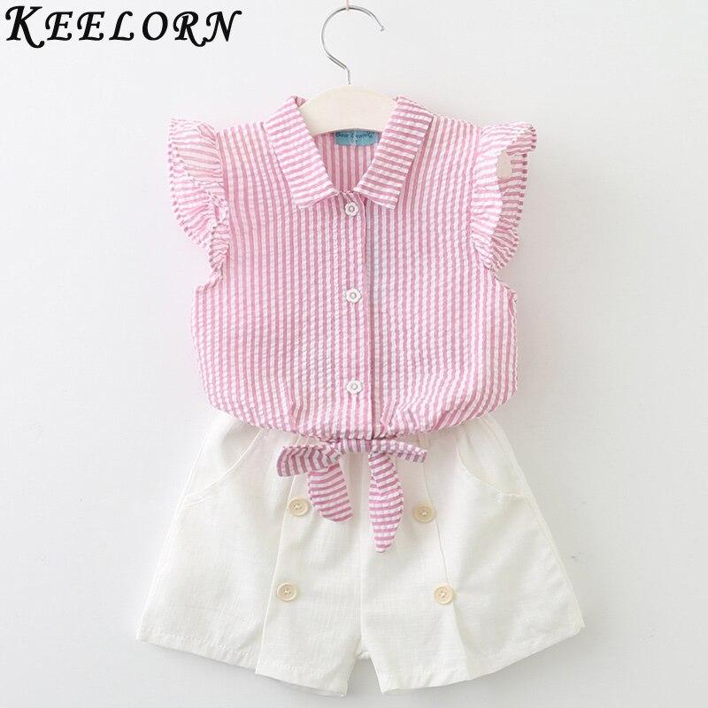 Keelorn Girls Clothing Sets 2018 Summer Fashion Style Kids Clothes Sleeveless Striped T-shirt + Plaid shorts 2Pcs Suit Kids