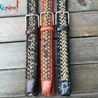 2016 New Fashion Unisex Casual Knitted Belt Men Woven Cowskin Belt Pin Buckle Belt For Men