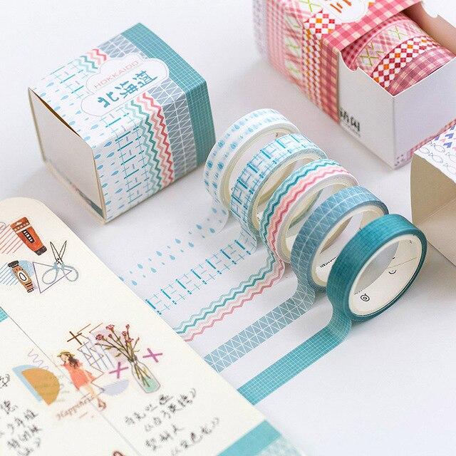 5 piunids/lote Geometry Dots Washi Tape Hollow Vintage cuadrícula decorativa cinta adhesiva para álbum de recortes álbumes de diario papelería
