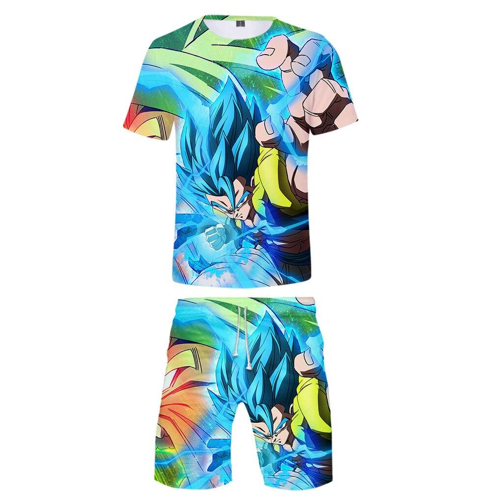 Hot Brand Man Fashion T Shirt Sets Dragon Ball T shirt and shorts Summer Super Broly Dragon Ball Cartoon 3D Print Boy Cool Stes