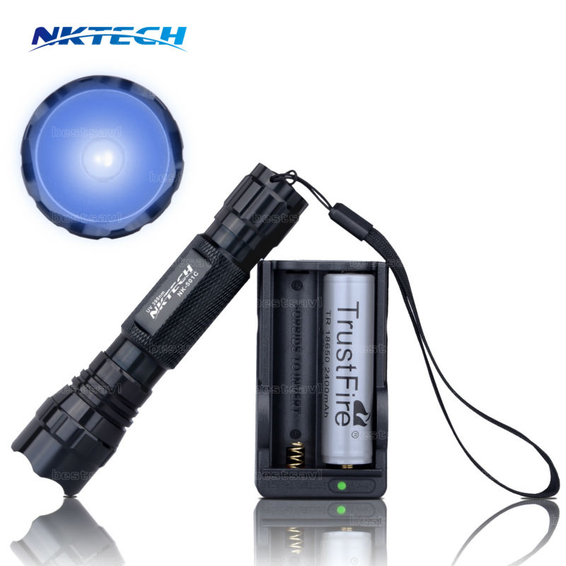 NK-501C Mini CREE UV Led Flashlight Torch 395nm Blacklight Wavelength 395nm Violet Light UV Black Light Torcia +Charger+battery