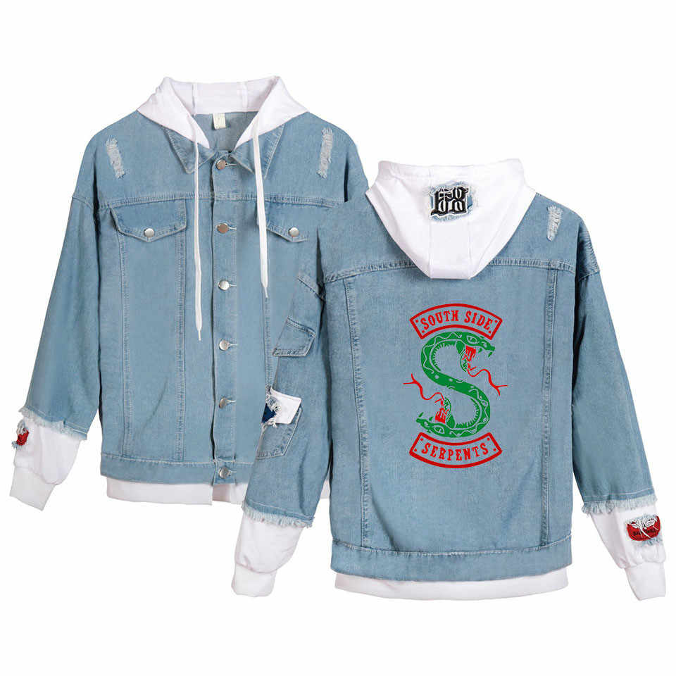 New Arrival Riverdale Southside Cosplay Costume Serpents Female Punk  HOODED SWEAT Jacket Denim Jacket Trendy Coats