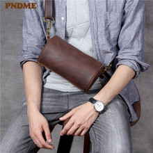 PNDME fashion vintage genuine leather mens chest bag casual simple daily light crazy horse cowhide crossbody bags for men