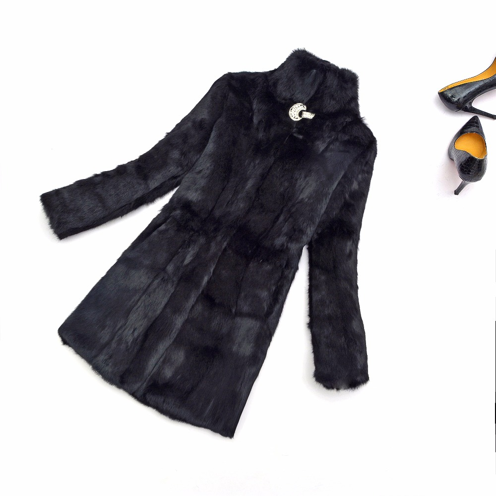 Classical Fur Overcoat Shinny Diamonds Decorate On Front Natural Real Full Pelt Rabbit Fur Coat  Customize Plus Size KSR265