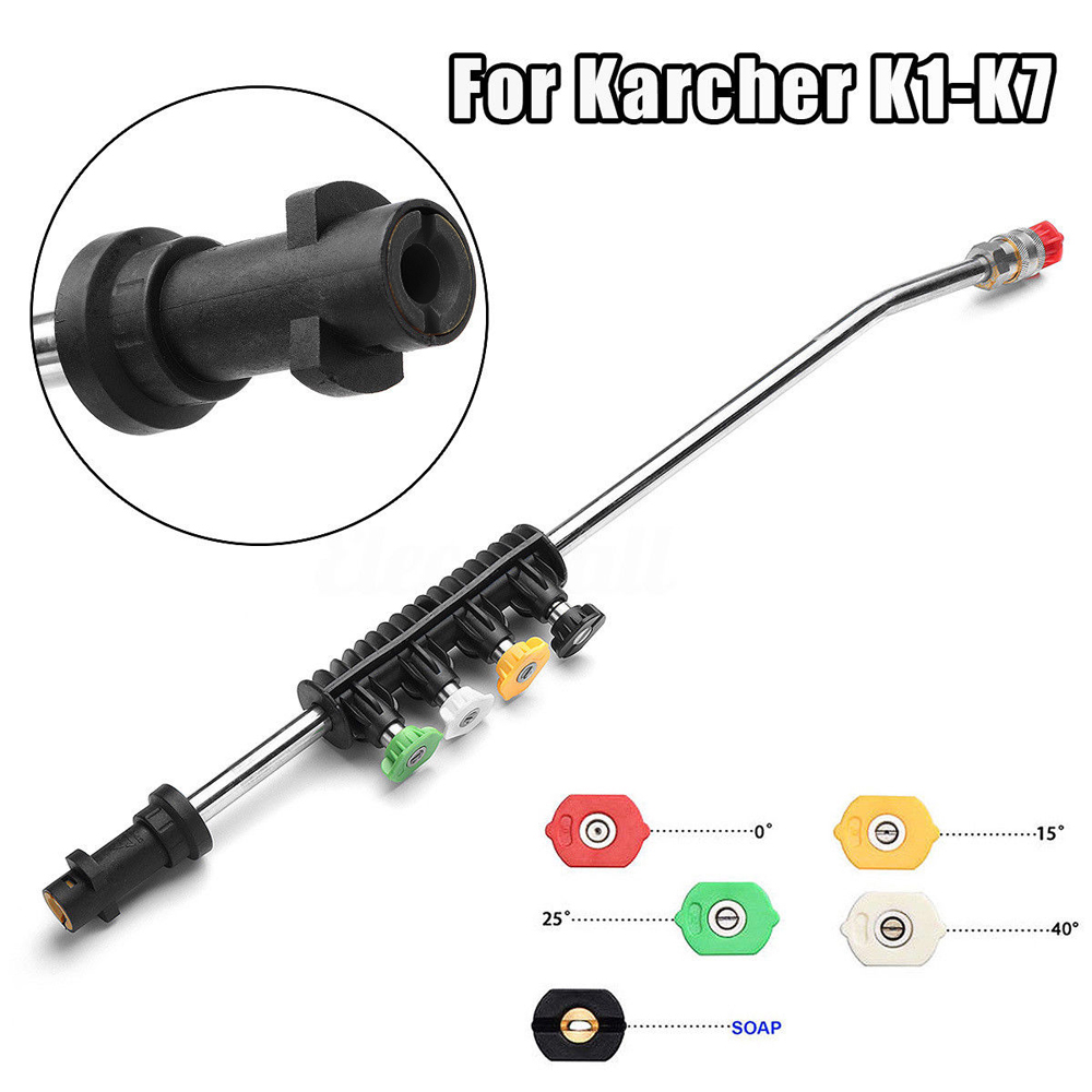 Car Washer Metal Water Spray Jet Lance with Quick 5 Nozzle Tips for Karcher K1 K2 K3 K4 K5 K6 K7 High Pressure Washers 1L Bottle