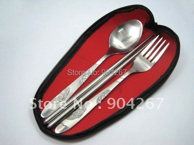 Wholesale outdoor Camping Hiking Chopsticks Spoon Fork Stainless Steel Tableware 3pcs/Set