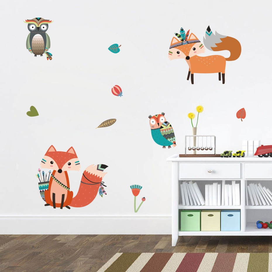 Nordic Cute Fox Wall Decal Cartoon Woodland Fox Pine Nuts Leaves Wall Sticker For Kids Room Nursery Wall Art Vinyl Murals ...