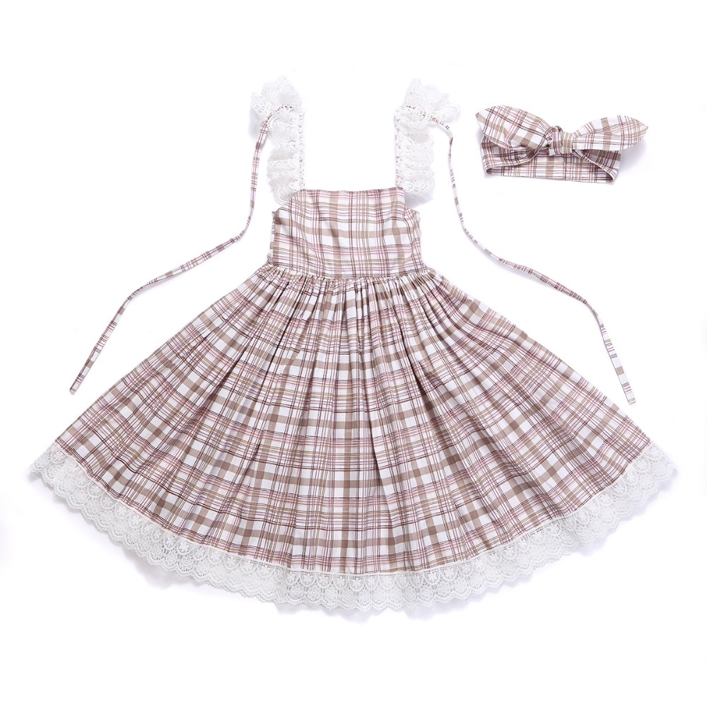 HTB1m 6.RXXXXXXuaXXXq6xXFXXXG - Baby Girls Dress with Cute Headband 2017 Summer Fashion Plaid&Stripe Cotton Print Backless For Girls Princess Toddler Dresses