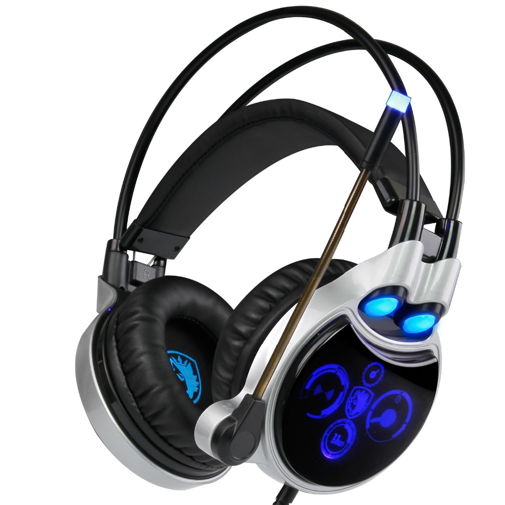 все цены на Sades R8 Gaming Headset headband USB 7.1 Surround Sound wired Stereo Headphones with microphone Led Light for laptop pc game