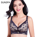 SUNSPA 2017 New Brand 3/4 cup women bra push up bras for women sexy lace deep V underwear women ladies large brassiere sizes