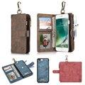 Caseme zipper luxo wallet keychain loop botão magnético destacável voltar case capa folio para iphone 6 6 s 7 mais originais