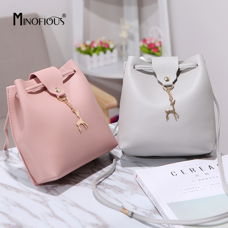 MINOFIOUS Fashion Casual Phone Coin Shoulder Bag Small Women PU Leather Messenger Bags Solid Hasp Bucket Crossbody Mini Bag