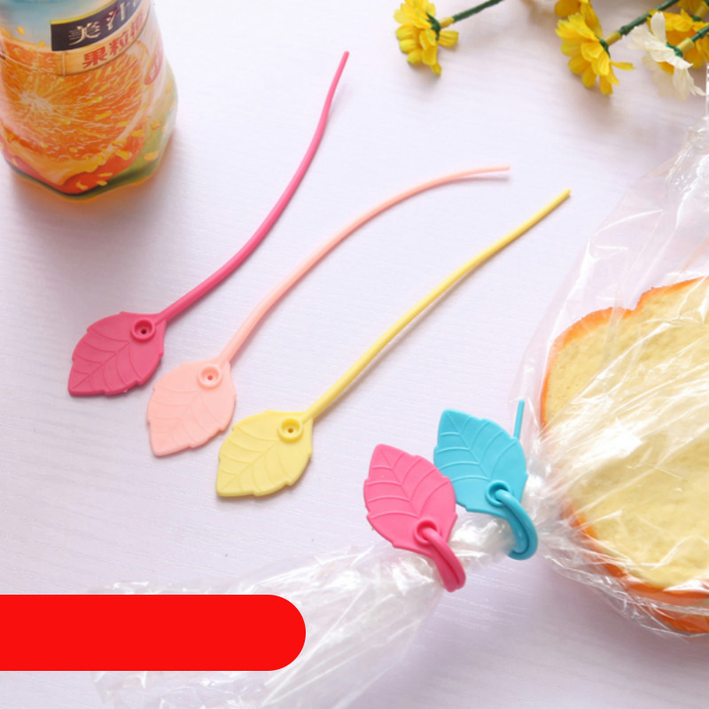 5 Pcs/lot New Hot Sale Household Practical Color Leaves Shape 17cm Silicone Wire Cable Tie Food Bag Sealing Clamp High Quality