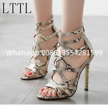 ФОТО 2017 Hottest Selling Real Picture Fashion Python Leather Fashion Zipper Sandals Thin High Heels Sexy Shoes Women Free Shipping