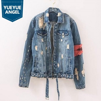New Fashion Hip-Hop Gesture Zipper Destroyed Hole Loose Jeans Jacket Men High Street Ripped Denim Jackets Mens Streetwear