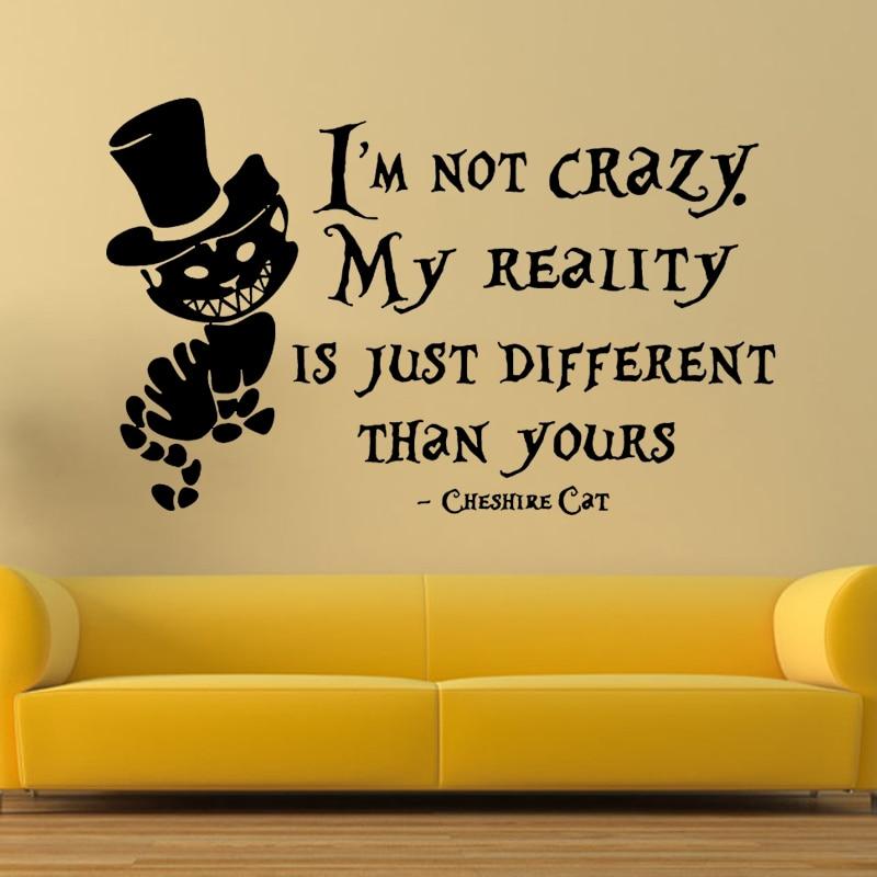 Alice In Wonderland Wall Sticker Cheshire Cat Quotes Vinyl Decals Room Wall Art.