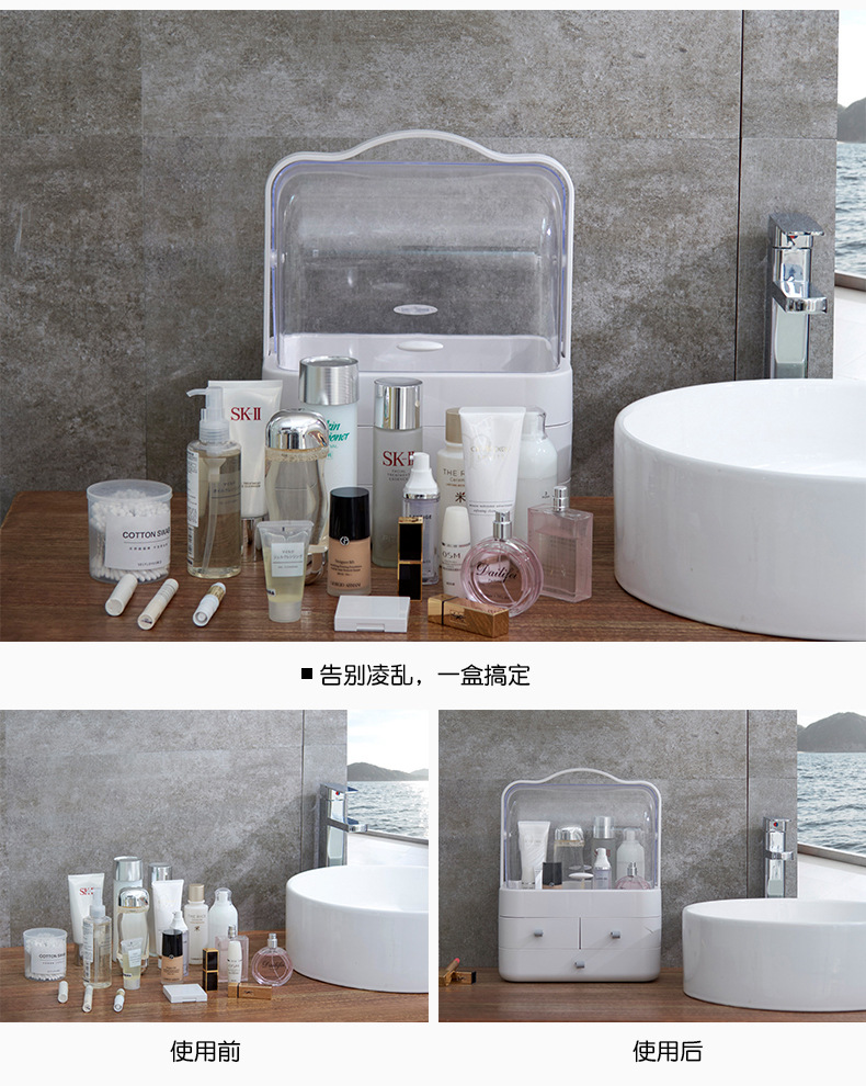 Portable cosmetic bag female Creative waterproof transparent storage box Cosmetic storage bag desktop storage bag in Cosmetic Bags Cases from Luggage Bags