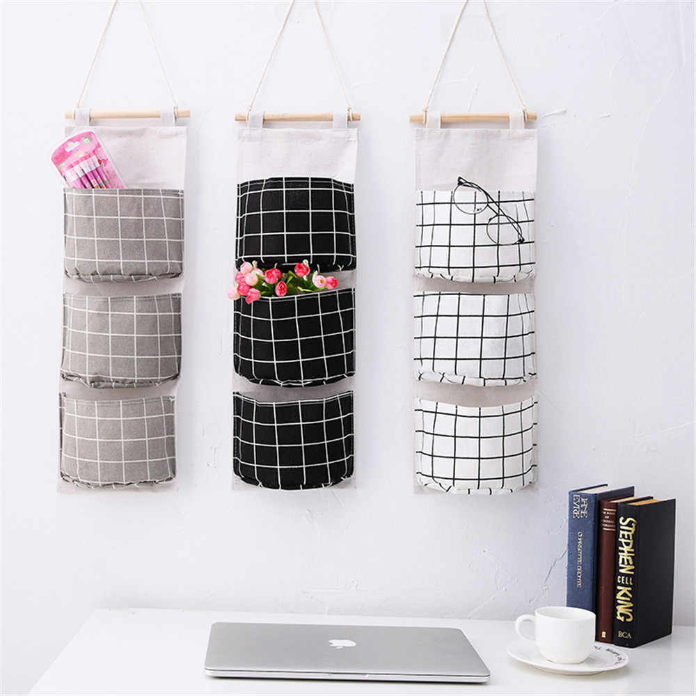 Cute Cotton Line Hanging Organizer Bag Plaid Pattern 3 Grids Wall Sundry Makeup Rack Jewelry Storage Box Basket Home Decoration