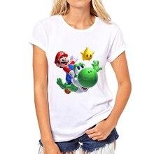 Fashion 3D super mario women t-shirt short sleeve casual tee cute cartoon hipster Mario riding a small dinosaur t shirt 32W-5#