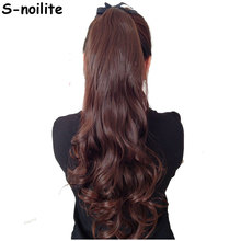 S-noilite Long Curly Tie Up Ponytail Synthetic Clip in Hair Extension Real Natural Ribbon Wrap Around on Hairpieces