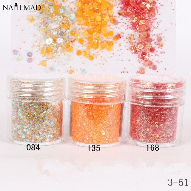 1 caja de orange color de uñas glitter powder lentejuelas sparkles ...
