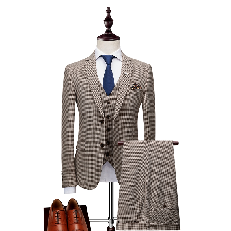 (Tops + Pants + Vests) Slim Plaid Suit Men's Suit British Style Korean Edition Dress Up Handsome Groom Wedding Host Dress