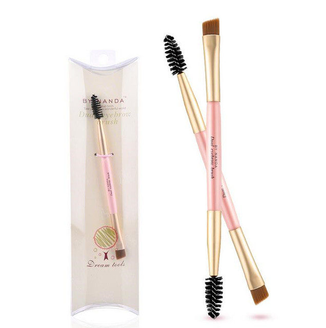1PC New Make up Bamboo Handle Double-ended Use Eyebrow Eye Brow Eyeliner Makeup Brushes Tools