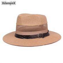 XdanqinX Summer Mens Western Simple Breathable Cowboy Straw Hat European Jazz Style Sun Hats Big Brim Net Cap For Men