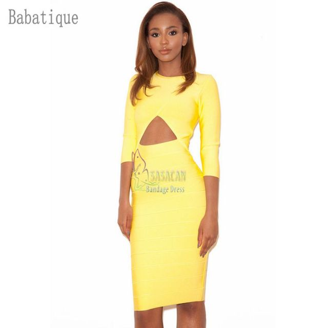 13509215 2018 spring New Arrival Woman Modern Yellow Half Sleeve Dress Special  Occasion Celebrity Party Bodycon Bandage