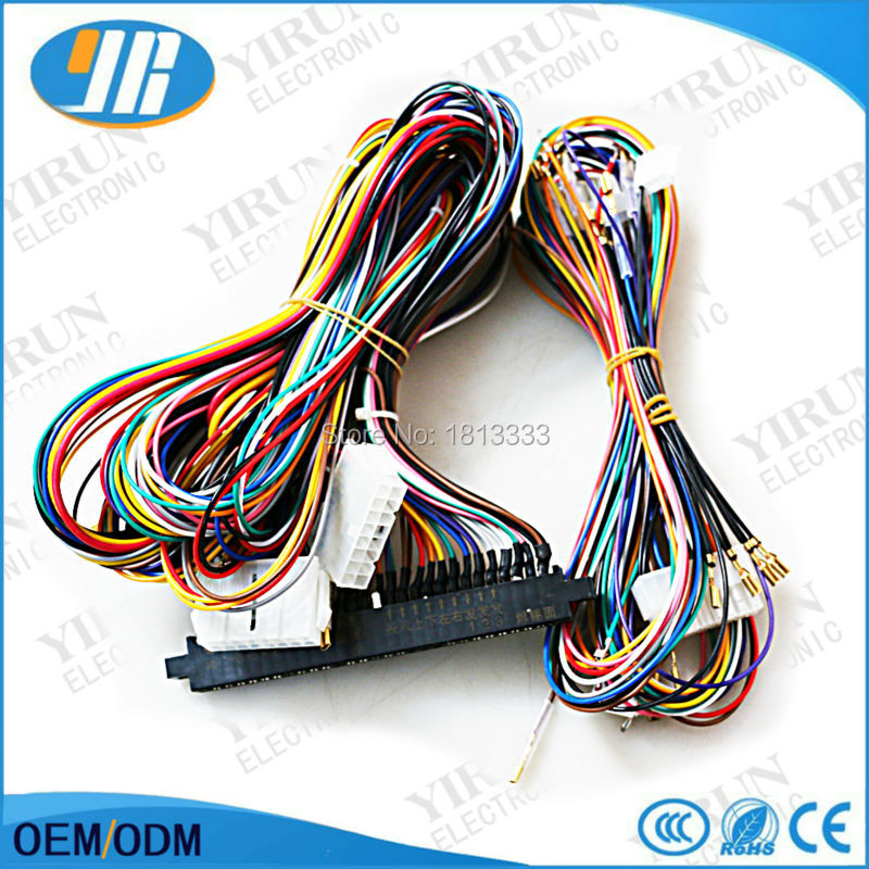 US $19 8 |Connection SANWA joystick push button Jamma wires Harness 28 pin  with 6 buttons wires for arcade game machine cabinet-in Coin Operated Games