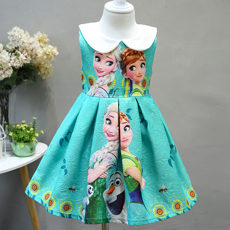 Girl Summer sleeveless Princess dress Cosplay Aisha Anna Princess Baby Party Dress print children's costumes for girl 2-10Y ems dhl free shipping toddler little girl s 2017 princess ruffles layers sleeveless lace dress summer style suspender