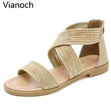 2019 New Fashion Women Sandals Summer Flats Beach Shoes Woman Size 40 41 42 wo19006 недорого