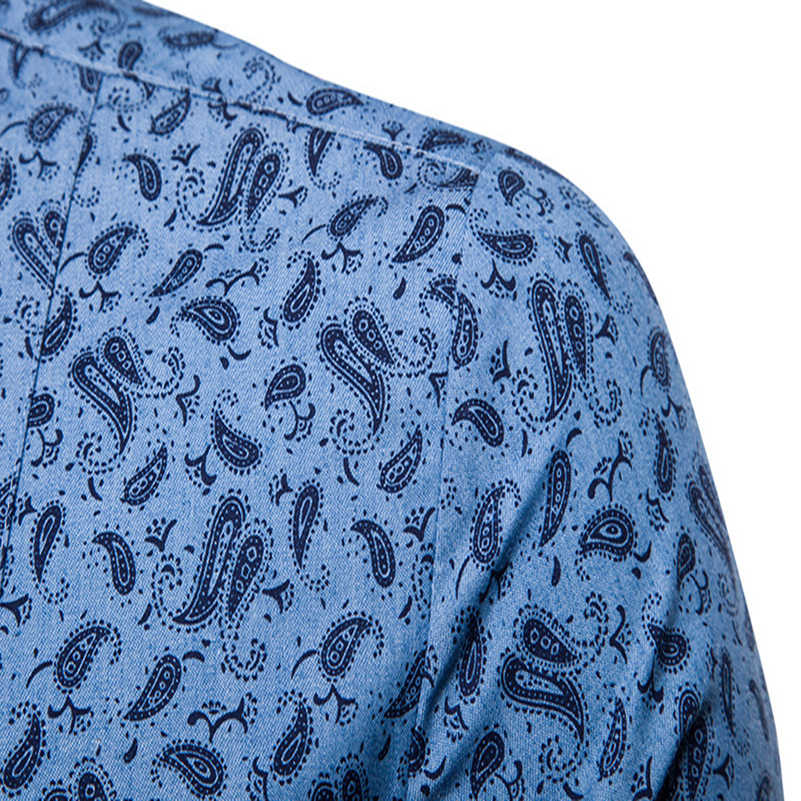 VISADA JAUNA 新メンズカシューフラワープリントラペル大サイズスリムファッション長袖シャツヨーロッパサイズ S-XL TLH44