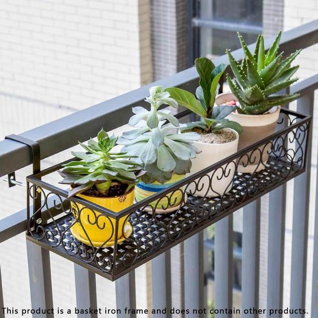 Balcony Plant Storage Shelf European Iron Railing Potted Window Sill Bracket Flower Pot