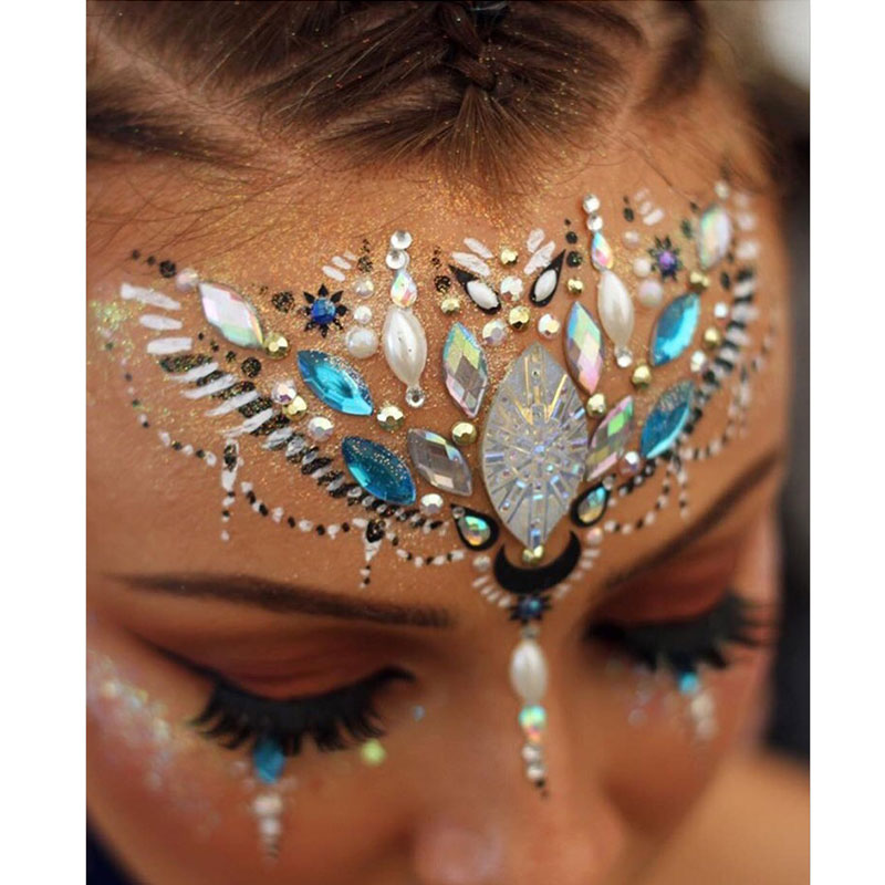 EDM Music Festival Party Makeup Special Effects Eye Face Rhinestone Face Sticker Color Diamond Sticker Jewelry image