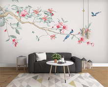 beibehang Custom size wall papers home decor new Chinese hand-painted flowers and birds pen plum decoration painting wallpaper
