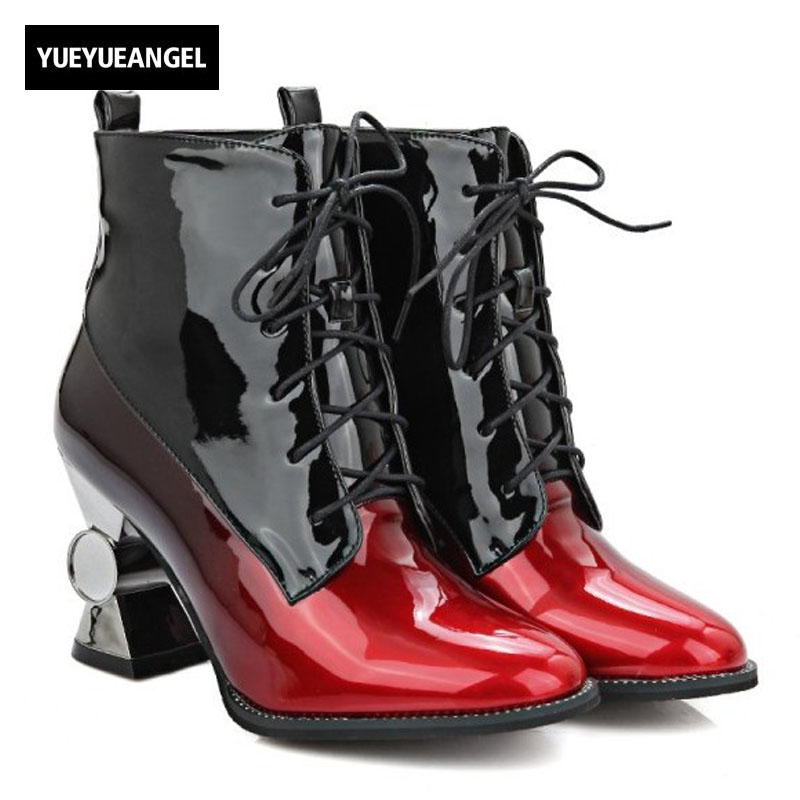 New Fashion Women Shoes Shiny Patent Leather Lace Up Pointed Toe For Women Ankle Boots Strange Style Sexy Punk Shoes Black Pink цены онлайн