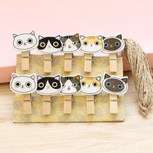 Cute Cat Photo Clip Wood Clips Message Folder Clothespin Craft Office Supplies Memo Hook DIY Postcard Party Decor