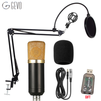GEVO BM 700 Condenser Microphone Studio Recording Wired Karaoke Mic With NB 35 Holder Arm And Pop Filter For Computer Pc Laptop